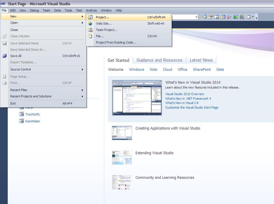 Создание нового проекта в Visual Studio