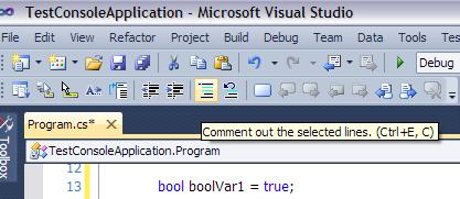 комментирование в Visual Studio